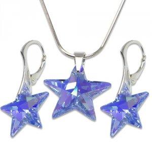 Strieborná sada s krištáľmi Swarovski Star Sapphire 496305 e63ba8c1903