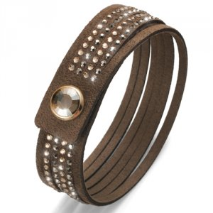 Náramok Oliver Weber s krištáľmi Swarovski Simple Cut Brown 32130-246